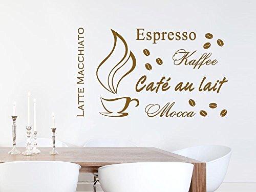 GRAZDesign Wandtattoo Küche Kaffee Tasse mit Sorten - Esszimmer Coffee Wand-Aufkleber / 68x40cm / 080 braun