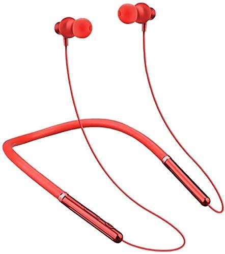 RTUTUR Auriculares Bluetooth Banda for el Cuello, Bluetooth estéreo bajo Sport Auriculares Sweatproof magnética Auriculares sin Hilos, 6Hrs Tiempo de Juego - Blanco (Color : Red)