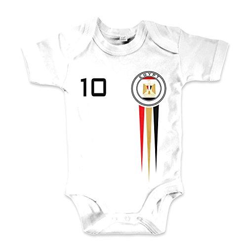 net-shirts Organic Baby Body mit Egypt Ägypten Trikot Aufdruck Fußball Fan WM EM Strampler - Spielernummer wählbar, Größe 00-03 Monate-Spielernummer 10