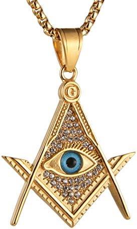 AsAlways Mens Cubic Zirconia Freemason Symbol Masonic 18k Gold Plated Iced Out Eye of Horus product image