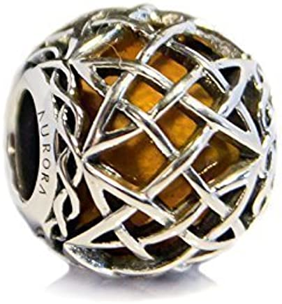 8b87f4c09 Amber Murano Glass & Sterling Silver Irish Celtic Eternal Knot Charm S925, Irish  Celtic Eternal