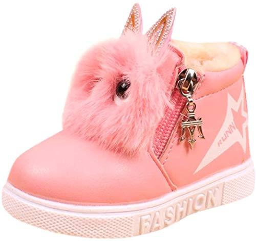 Kolylong Stiefel Mädchen (1-6 Jahre alt) Kinder Baby Mädchen Karikatur Sneaker Stiefel Herbst Winter Warme Schnee Stiefel wasserdichte Winterstiefel Kleinkind Schuhe Babyschuhe (24, Rosa)