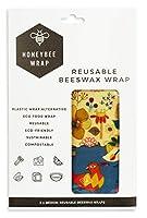 [HONEYBEE WRAP] ミツバチラップ 再利用可能 認定オーガニック使用 (Reusable Beeswax Wrap Medium 2) Mサイズ 2枚 [海外直送品]