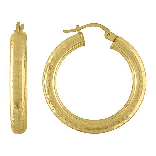 Pendientes de aro facetados de plata de ley 925, tono amarillo, 4 mm, joyería para mujer