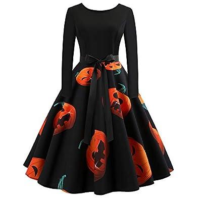 Women's Halloween Pumpkin Print Vintage Dress Long Sleeve Gown Party Dress