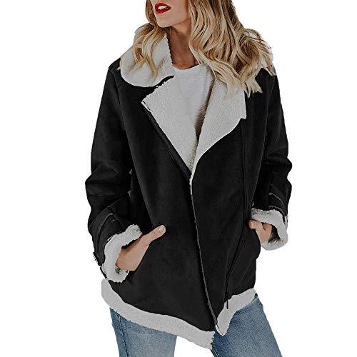 OverDose Damen Kurzmantel Offene Jacke Damen Faux Wildleder Warme Jacke Zipper Up Vorne Mantel Outing Soft Outwear mit Taschen(Schwarz,36 DE/L CN )