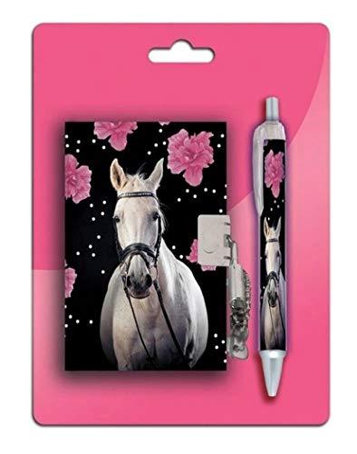 Schreib Set Geschenke für Mädchen - Schulanfang Schultüte Tagebuch gebunden Kindergartenbuch mit Schloss, Schlüssel & Stift Design Pferd - Horse