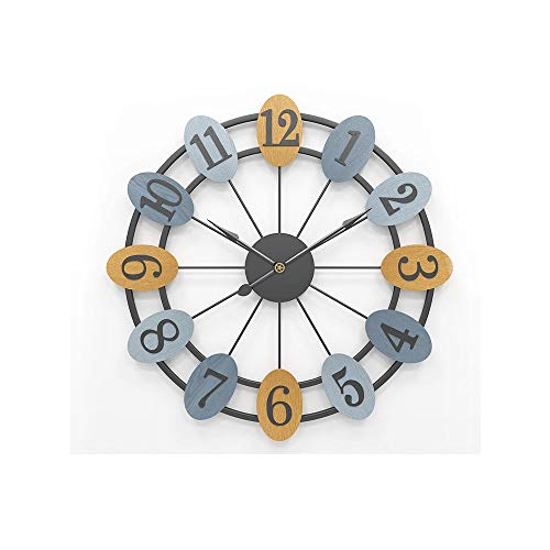 SWNN Relojes de Pared Hierro Casa Simple Reloj De Pared Europeo Mudo Creativo Reloj Material del Reloj del Tamaño De 60cm * 60cm