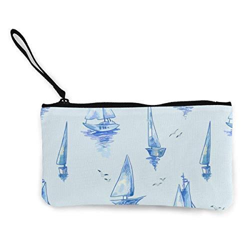 Yuanmeiju Blaues Segelboot-Muster mit Booten Leinwand-Geldbörse Exquisite Geldbörsen Kleine Leinwand-Geldbörse Wird verwendet, um Münzwechsel, ID und andere zu halten