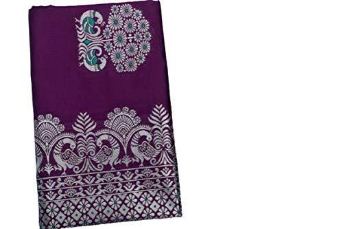 VintFlea Sari de seda suave de jacquard hecho a mano de la India con la pieza de la blusa