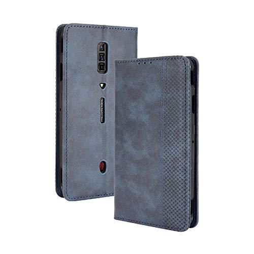 Dedux Flip Hülle kompatibel mit ZTE Nubia Red Magic 6 (6 Pro), Retro Leder Brieftasche Abdeckung Magnetverschluss Folio Ständer Kartensteckplätze Handyhülle, Blau