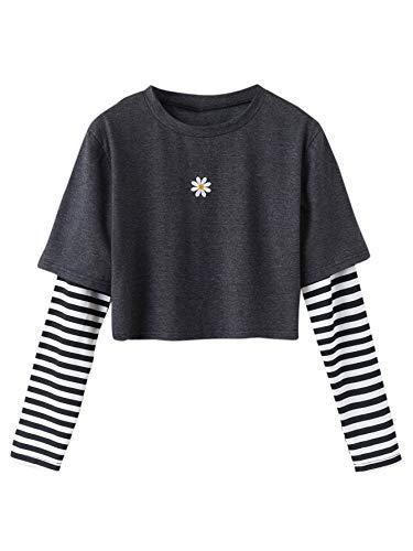 SweatyRocks Women's Color Block Flower Graphic Striped Long Sleeve Crop Top T Shirt Dark Grey XL