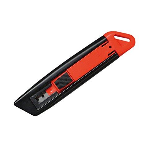 Portwest KN10BKR Cutter di Sicurezza Retrattile, Nero/Rosso