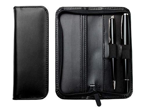 DELMON VARONE - Personalisierbares Schreibgeräteetui aus Premium Leder Boxcalf schwarz, Echtleder Stifteetui mit Reißverschluss für 2 Schreibgeräte, Etui für hochwertige Kugelschreiber & Füller