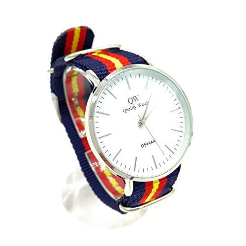 BDM Reloj de Pulsera para Hombre analógico con la Bandera de España, Correa de Hilo. Un Regalo Original.