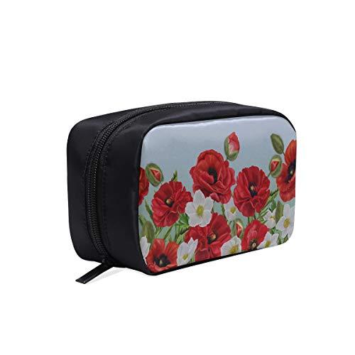 Hommes Sac Mode Horizontal Bordure Florale Rouge Coquelicots Fleurs Clair Voyage Trousse De Toilette Sac Femmes Mode Femme S Sac Sacs À Cosmétiques Multifonction Etui Trousse De Toilette Femmes