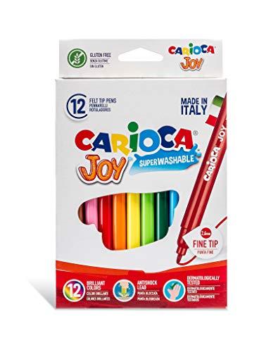 Carioca - Caja de rotuladores con tinta lavable, punta fina sintética, 12 unidades, multicolor