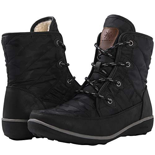 GLOBALWIN Women's 1920 Black Faux Fur Lined Winter Snow Boots 6M
