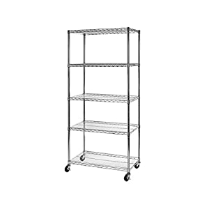 """Seville Classics UltraDurable Commercial-Grade 5-Tier NSF-Certified Wire Shelving with Wheels, 36"""" W x 18"""" D x 72"""" H, x x, Plated Steel"""