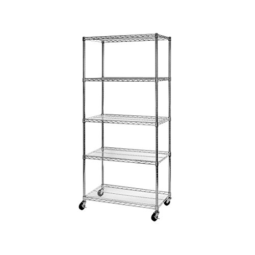 "Seville Classics UltraDurable Commercial-Grade 5-Tier NSF-Certified Wire Shelving with Wheels, 36"" W x 18"" D x 72"" H, x x, Plated Steel"