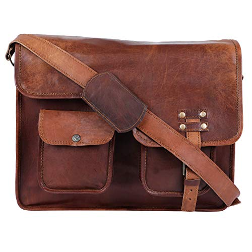 GNG - Leather Briefcase Laptop Bag 16 inch Handmade Messenger Bags Best Satchel - Half flap - 2 front pocket :: Made in India