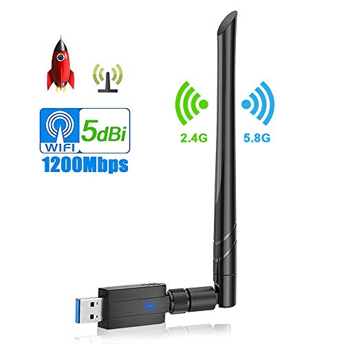 WLAN Stick, synmixx WiFi Adapter USB3.0 1200Mbit/s Dualband Wireless(5,8G/867Mbps+2,4G/300Mbps) 5dBi Antenne WLAN Adapter WiFi Dongle mit Thermisches Design für PC Desktop/Laptop/Win/Vister/Linux/Mac