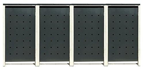 BBT@ | Hochwertige Mülltonnenbox für 4 Tonnen je 240 Liter mit Klappdeckel in Grau / Aus stabilem pulver-beschichtetem Metall / Stanzung 6 / In verschiedenen Farben sowie mit unterschiedlichen Blech-Stanzungen erhältlich / Mülltonnenverkleidung Müllboxen Müllcontainer