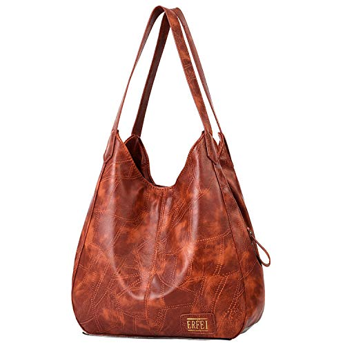Hobo Bags for Women Soft Leather Shoulder Bags 3 Compartment Large Capacity Tote Bag Multi-pocket Handbags Girls Purse,Brown