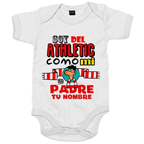 Body bebé soy del Athletic de Bilbao como mi padre personalizable con nombre - Blanco, 6-12 meses