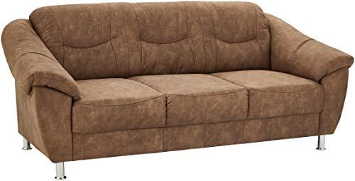 Cavadore 3er Sofa Santa mit Federkern 3-sitzige Couch in Lederoptik, Kunstleder, braun, 202 x 86 x 90 cm