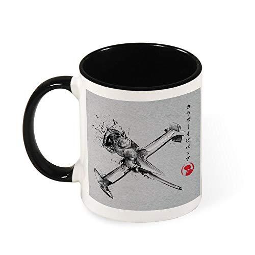 Cowboy Bebop Mono Racer Sumi E Taza de café de cerámica, regalo para mujeres, niñas, esposa, mamá, abuela, 325 ml