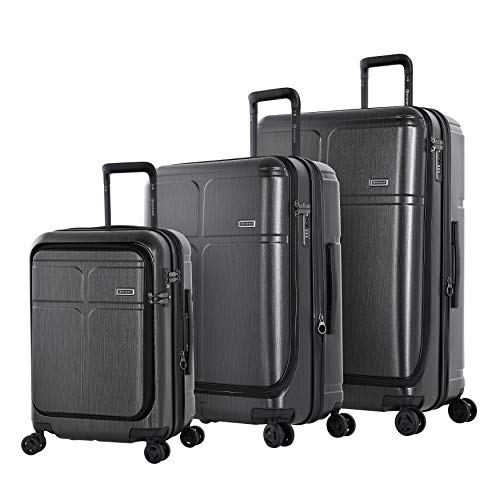 Eminent Luggage Set Load 3pcs Expandable Secure Zippers 4 Double Silent Wheels Graphite