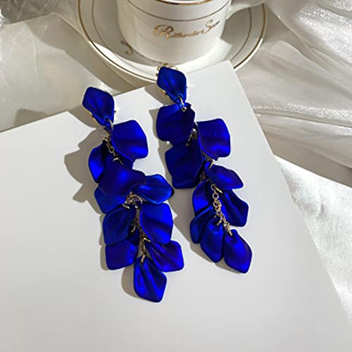 SONGK Pendientes Colgantes de pétalos de Rosa a la Moda para Mujer, Pendientes Largos con Borla Larga, Azul, Blanco, Accesorios de joyería para Fiestas y Bodas, Regalo