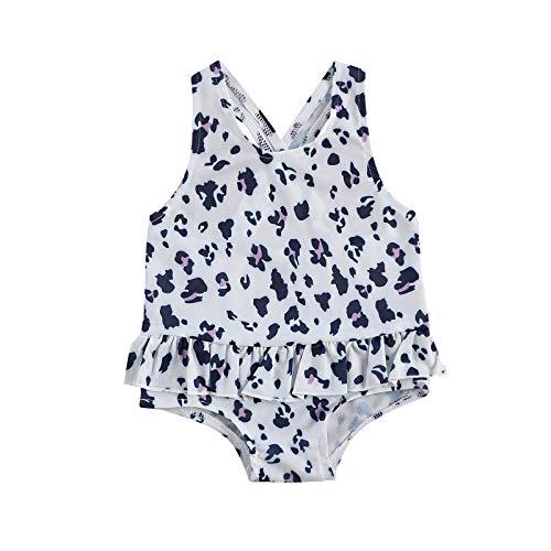 Carolilly Traje de baño completo para bebé, de verano, sin mangas, con estampado de leopardo, rayas, cara de gato, para la playa Color blanco. 6-12 meses