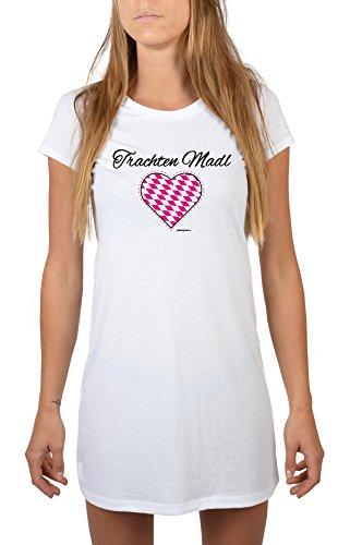 Goodman Design ® Damen Longshirt Nachthemd - Bayern Motiv - Trachten MADL - Bayerischer Spruch, Dialekt - Farbe: Weiss