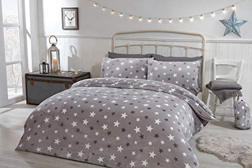 Sleepdown Bold Stars Flannel Fleece Grey Reversible Soft Duvet Cover Quilt Bedding Set With Pillowcases - King (220cm x 230cm)