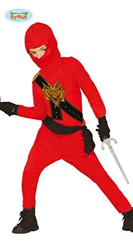 Ninja Kostüm für Kinder schwarz-rot mit Dragon-Print - Ninja Kostüm für Kind Jungen rot schwarz 110/116
