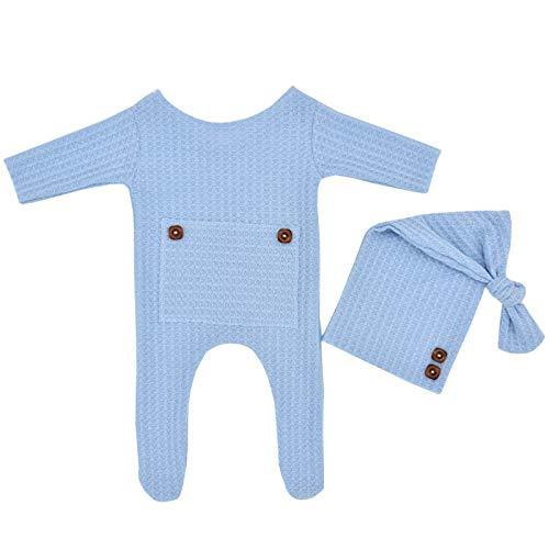 2 Stück Neugeborene Fotografie Outfits Häkel-Strick-Set weiche Langarm Posing...