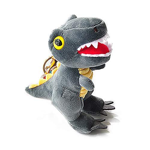 Llavero de peluche de dinosaurio con llavero de metal, colgante de bolsillo, juguete de peluche para niños