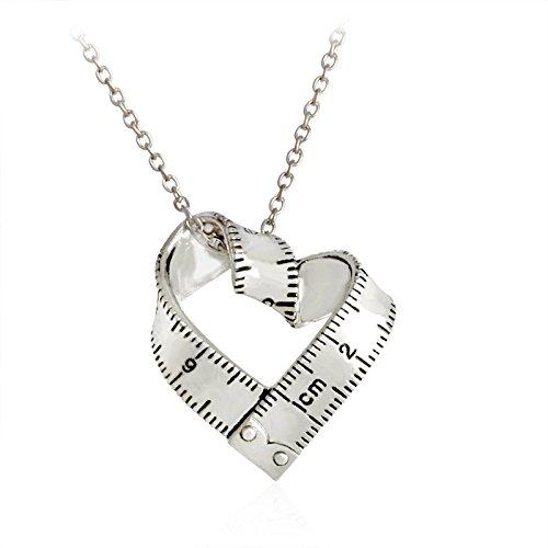 Colgante Cinta Métrica en forma de Corazón – Regalo de Moda y Diseño Original para mujer con Cadena de 45 centímetros + 5 de ajuste