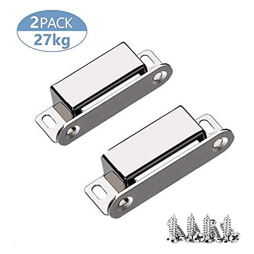 Magnetschnäpper 2 Stück, Schrankmagnete, onehous 27 kg ziehen, Magnetischer Türriegel mit 8 Schrauben, 304 Edelstahl Türmagnet für Heimmöbel, Kleiderschrank, Küche