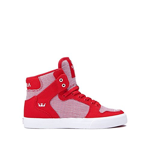 Supra - Big Kids Vaider Hightop Shoes, Size: 4.5 M US Big Kid, Color: Red/White