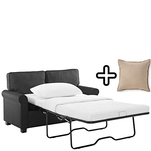 Mainstay Perfect Loveseat Sofa Sleeper with Memory Foam Mattress with Decorative Pillow | No-Tool Easy Assembly, Black