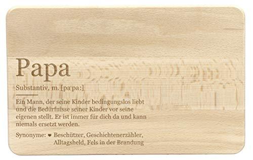 LAUBLUST Frühstücksbrettchen mit Gravur - Lexikon: Das ist Papa - Geschenk für Vater | ca. 24 x 15 cm, Holz FSC®