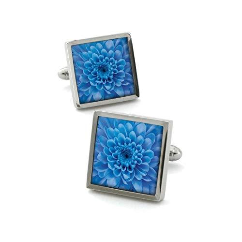 Robert Charles. Boutons de Manchette. Chrysanthèmes, Acier rhodié. Bleu, Motifs.