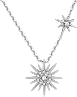 Sterling Silver Sun Up Pendant Gold Plated Diamond Necklace Gift for Mom