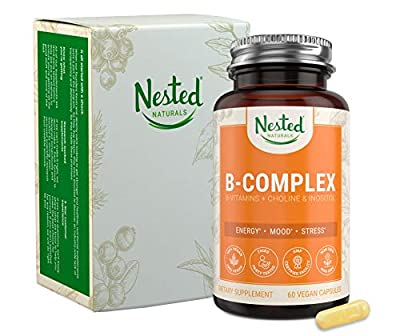 ALL 8 B-COMPLEX VITAMINS Plus Choline & Inositol | 60 Vegan Capsules | High Potency Multi B Vitamin with Pure Methyl B12, Natural Folic Acid 400mcg | Best B-Vitamins Complex Supplement for Men & Women