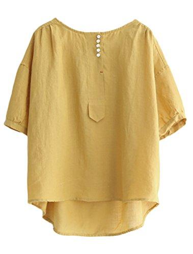Minibee Women's Hi-Low Tunics Blouse Loose Cotton Linen Shirt for Women Tops Yellow