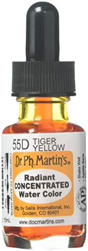 Dr. Ph. Martin's Radiant Concentrated Water Color (55D) Watercolor Bottle, 0.5 oz, Tiger Yellow, 1 Bottle,RADI05OZS55D