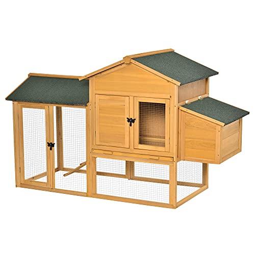 Pawhut Hühnerstall Hühnerhaus mit Auslauf Geflügelstall mit Stange Fenster Nistkasten Tannenholz Gelb+Grün 168x75x103 cm